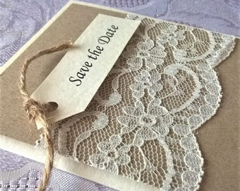 Hand Crafted Personalised 'Amelia Rose' Wedding Save the Date Sample Rustic Vintage Lace Twine