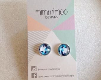 Glass Round Stud Earrings