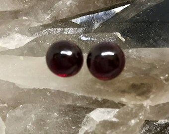 Garnet Stud Earrings -  Sterling Silver & Amber Earrings - Healing Gemstones -  8mm Stud Earrings