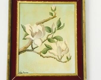 Vintage Original Painting Lotus Blossoms Flowers