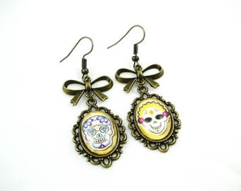 Earrings retro Mexican skull, dia los muertos