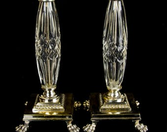 Stunning Pair of Antique Silver Plated Cut Glass Claw Foot Candlesticks, 1800s