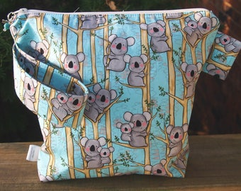 Koala Bear Zippered Pouch Knitting  Project Bag/ Measuring tape/ pockets