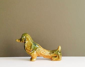 Vintage Bitossi Dog Figurine Aldo Londi Yellow Spagnolo decor mid century Italian studio Pottery Beagle Dachshund