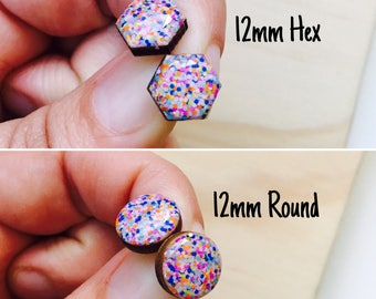 12mm Confetti Resin/Bamboo Stud Earrings • Round • Hexagon • Surgical Steel • Hypoallergenic • Rainbow • Glossy • Dome