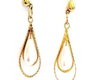 Vintage White Pearl Drop Gold Earrings