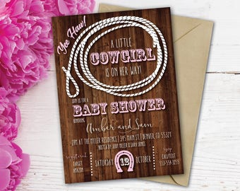 Cowgirl Baby Shower Invitation | Cowboy Baby Shower | Western Baby Shower  Invite | Rustic Baby