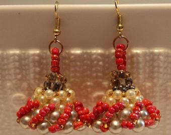 Beautiful Red, white and grey-beaded earrings; handmade, beadweaving, Dangle & Drop, elegant, party-wear, costume-wear