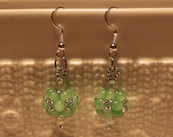 Beautiful Czech crystal-beaded earrings in green; handmade, beadweaving, dangle & drop, cute, casual-wear, party-wear
