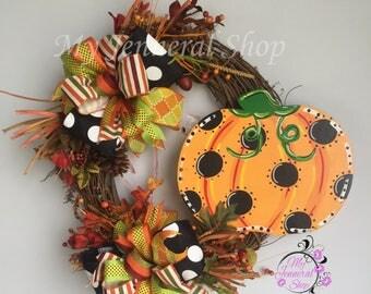 Pumpkin Wreath - Fall Grapevine Wreath - Fall Wreath - Halloween Wreath - Thanksgiving Wreath