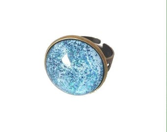 Bronze glitter blue cabochon Adjustable ring