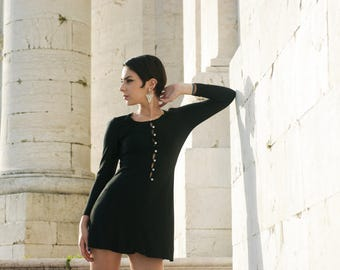 "Vtg. 70's black mini dress by portuguese brand ""Porfirios"""