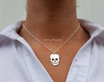Skull necklace, skull jewelry charm, Big skull necklace, human skull jewelry, dainty skull, sugar skull pendant, silver skull pendant charm