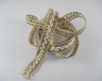 Lace Ribbon, natural linen, fancy, Openwork, 15 mm wide.