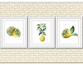 Lemon print, Lemon art, Lemon poster, Lemon printable, Lemon wall art, Lemon wall decor, Lemon decor, Kitchen decor, Kitchen wall art, Fruit