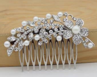 Wedding hair comb, bridal hair comb, wedding headpiece, wedding hair piece, wedding comb, rhinestone hair comb, crystal hair comb, wedding