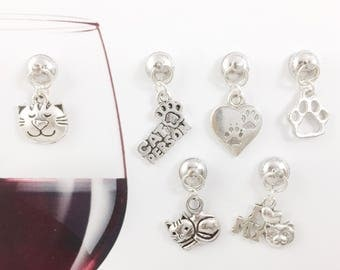 6 Cat Wine Charms, Cat Lover Gift, Magnetic Wine Charms, Animal Lover Gift, Gifts for Her, Housewarming Gift, Hostess Gift, Wine Accessories