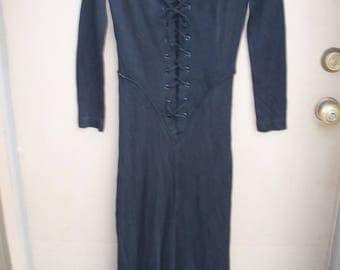 Vintage 70's Witchy Boho Black Front Lace Up Maxi Dress
