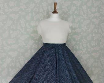 Navy floral circle skirt