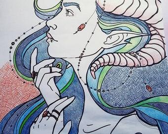 Poster Sized Dragon Girl Original Drawing