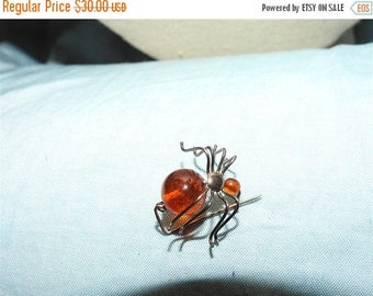 ON SALE stunning small sterling silver and amber spider brooch