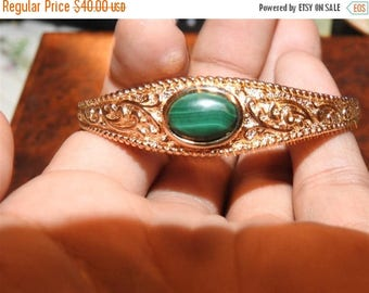 ON SALE wonderful vintage gold plated sterling silver and malichite bracelet
