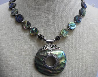 stunning asian inspired sterling silver and abalone mother of pearl statement necklace 18 inches