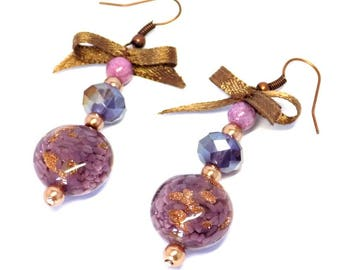 Earrings Mauve Glass Crystal Brown Satin Butterfly
