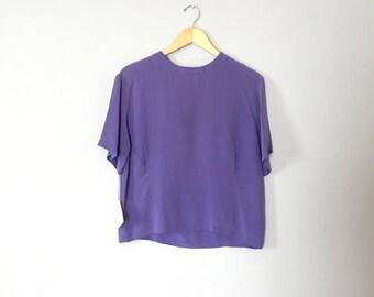 20% OFF SALE... lavender silk crop top   pin tucked silk blouse