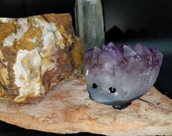 RESERVED - Amethyst Crystal Cluster Carved Hedgehog Reiki Spirit Animal Totem Gift