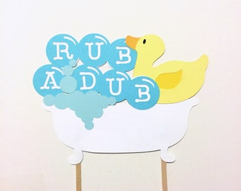 Rubber Ducky Cake Topper - Rubber Duck Baby Shower - Rubber Duck Birthday Party - Yellow and Blue Baby Shower -Ducky Baby Shower Decorations