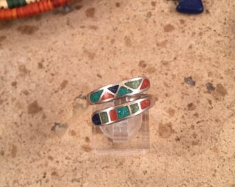 Vintage Navajo Multi Stone and Sterling Silver Inlay Ring Size 7