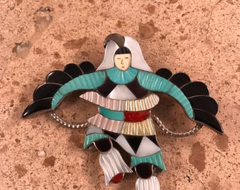 Vintage Zuni Kachina Dancer Sterling Silver Multi Stone Inlay Pin/Pendant Signed