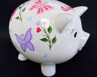 Butterfly piggy bank etsy Decorative piggy banks for adults
