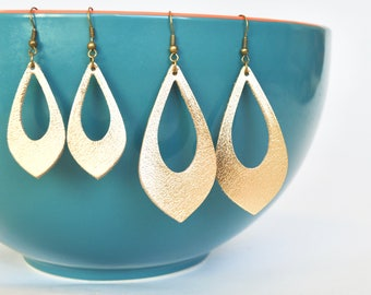 Hickory Leather Cut Out Earrings:  Metallic Gold //  Leather Teardrop Cut Out Earrings--Leaf Earrings // Gifts Under 20