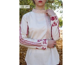 Long sleeve , summer, beige hand-embroidered shirt , Palestinian embroidery