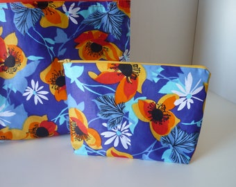 Pouch, zippered and lined, flowers of the Islands