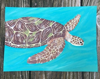 Sea Turtle Acrylic Painting, Summer Home Decor, Ocean Art, Nautical Decor, Beach Decor, Abstract Sea Turtle,