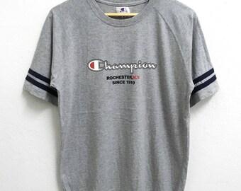 RARE!!! Champion Rochester Big Logo SpellOut Crew Neck Grey Colour T-Shirts M Size