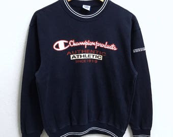 RARE!!! Champion Products Big Logo Embroidery Crew Neck Dark Blue Colour Sweatshirts Hip Hop Swag S Size