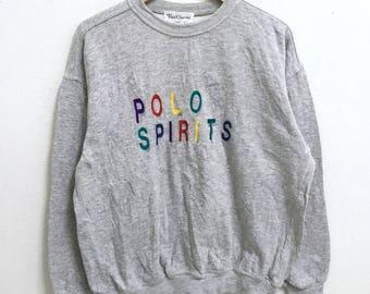 RARE!!! Polo Spirit Big Logo Embroidery Multicolour Crew Neck Grey Colour Sweatshirts Hip Hop Swag L Size
