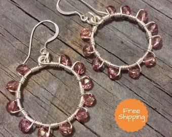 Beaded Earrings - Drop Earrings - Dangle Earrings - Boho Chic Earrings - Boho Earrings - Crystal Earrings - Hoop Earrings - Gifts for Her