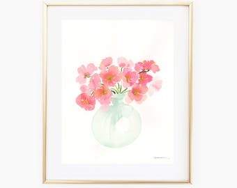 Vase of Flowers - 11x14 Original Watercolor