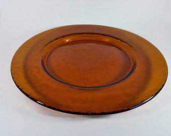 Amber Glass Round Serving Platter