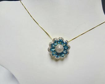 14K Yellow and White Gold Blue Topaz Pendant Necklace