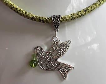 Natural Peridot Peace Dove Pendant Necklace