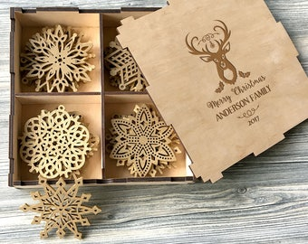 Wooden Christmas Ornaments Personalized Christmas Gifts Christmas Decorations Family Gifts Holiday Gifts for Parents Christmas Snowflakes