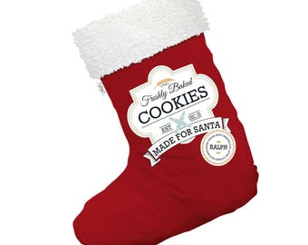 Freshly Baked Cookies for Santa Personalised Large White Christmas Stocking Gift Bag With White Fur Trim