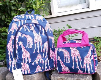Personslized Navy and Hot pink Giraffe Backpack and Lunch bag set