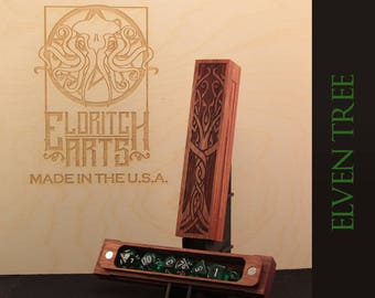 Elven Tree - RPG Dice Box - Jatoba (Brazilian Cherry)  With Laser Etched Magnetic Lid